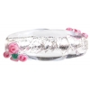 Glass Lamp Bead 28x11mm Oval Crystal/Silver With Rose
